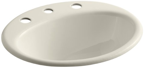 Kohler 2905-8-47 Cast Iron Drop-In Oval Bathroom Sink, 20.5 x 18.25 x 10 inches, Almond