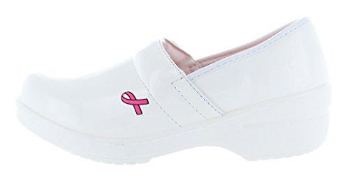Breast Back Clogs Pink Rasolli Professional Ribbon Awareness Women's Cancer White Closed x6tq7FYFw