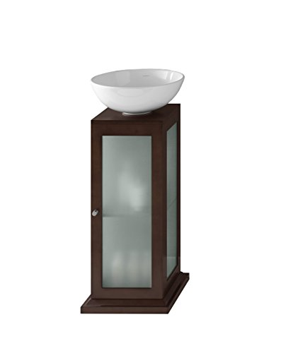 RONBOW Solis 15 inch Modern Bathroom Vanity Pedestal Sink in Dark Cherry, Wood Pedestal with Frosted Glass, Soft Close Door and Adjustable Shelf, White Round Ceramic Vessel Sink (Frosted Glass Vessel Pedestal Vanity)