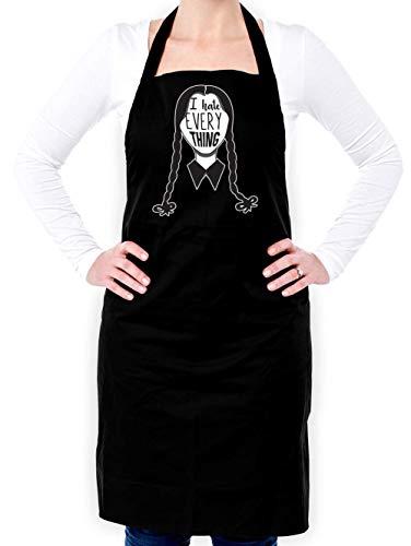 Sassy Black Apron - Dressdown I Hate Everything - Unisex Adult Apron - Black - One Size