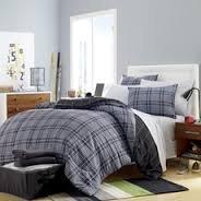 Boy Gray Black Plaid Stripe Dorm College Twin Xl Comforter Set (5pc Bed in a Bag)