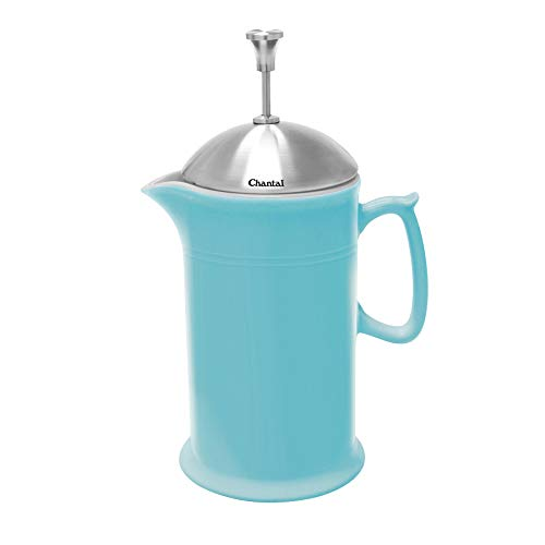 Chantal Ceramic French Press with Stainless Steel Plunger/Lid, 28 ounces, Aqua