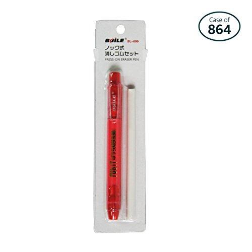 Case of 864 Baile Clic Eraser Cap Retractable Eraser, 1 Eraser Pen with 1 refill (RED) by BaiLe