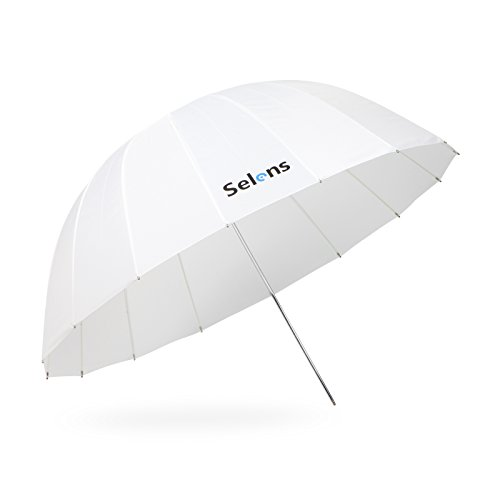Selens 65 Inch Photography Studio Translucent Parabolic Lighting Reflective Umbrella Diffuser with Fiberglass Rib, 23 Inch Depth Soft White