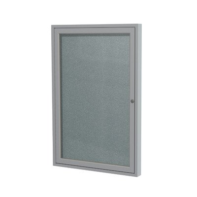 1 Door Outdoor Enclosed Bulletin Board Size: 3' H x 2' W, Frame Finish: Satin, Surface Color: Stone - Enclosed Cork Board