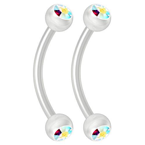 Bling Piercing 2pc 16g Flexible Bioflex Curved Barbell 3mm Bioplast Gem Ball Aurora Borealis 10mm JCurve Banana - Gem Bioplast Aurora