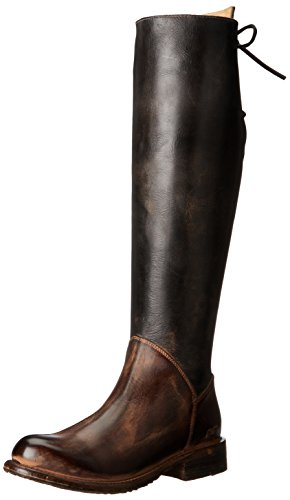 bed stu Women's Manchester Motorcycle Boot, Black Rustic/Teak Rustic, 8 M US