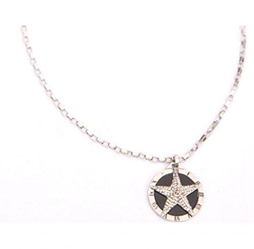 soyagift silver chain rhinestone star roman numerals round pendant necklace