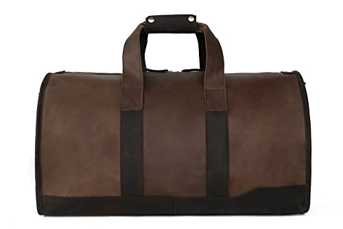 HandMadeCart Genuine Leather Travel Bag Men's Leather Luggage Travel Bag Duffle Bag Weekender Bag DZ03 by HandMadeCart