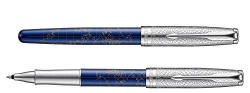 Parker Sonnet Atlas Rollerball Pen Blue Silver C.C. by Parker (Image #1)