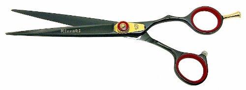Kissaki Hair Scissors Kogai 7.0'' Black Titanium Hair Cutting Shears Hairdressing Scissors