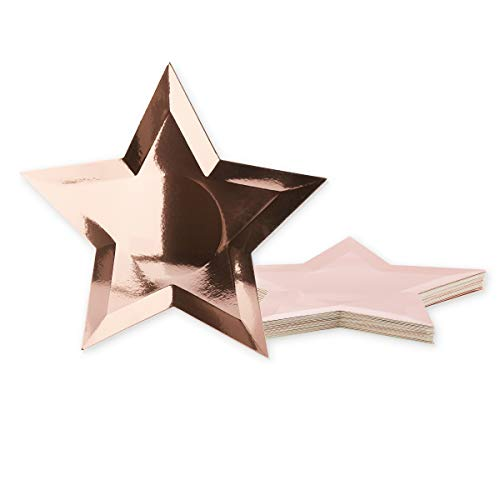 Juvale 36-Pack Rose Gold Foil Star Shaped Paper Plates For Appetizers, Dessert, Party Supplies, Graduation, 10.7 -