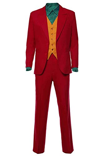 Best Male Halloween Costumes Of 2019 (DIFFERONE Men's Joker 2019 Cosplay Full Suits Joaquin Phoenix Red Outfit Halloween Cosplay Costume Unisex (XX-Large,)