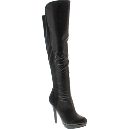 Delicious Womens Venga Faux Leather Over The Knee High Heel Boots, Dark Burgundy, 11 M US