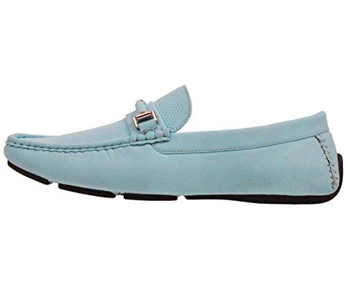Amali Chaussure Perforée Mocassin Nubuck Homme Avec Boucle Enveloppée Style Downey Turquiose
