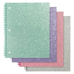 160 Notebook (Office Depot(R) Brand Glitter 3-Hole-Punched Notebook, 8in. x 10 1/2in., Wide Ruled, 160 Pages (80 Sheets), Assorted Colors)