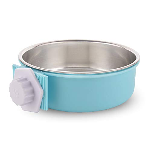 Crate Dog Bowl Removable Stainless Steel Water Food Feeder Bows Cage Coop Cup for Cat Puppy Bird Pets (Large, Grass Blue)