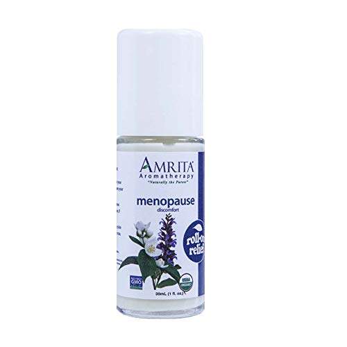 Amrita Aromatherapy Organic Menopause Roll-On Relief, Natural Hot Flashes Relief, Organic Lotion Base with Sweet Fennel, Clary Sage, Rose Geranium, Jasmine and Vitex Essential Oils, 30 milliliters