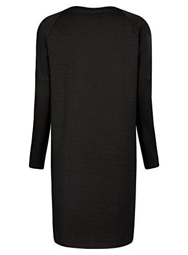 oodji Collection Mujer Vestido de Punto con Cremalleras Decorativas en los Hombros Negro (2900N)