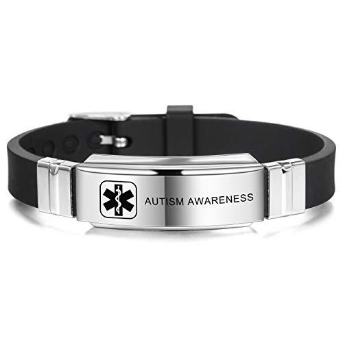 MOWOM Medical Bracelet Custom Engraved Silicone Adjustable Sport ID Identification Alert for Men Women Kids Stainless Steel - Bundle with Emergency Card, Holder (Black, Autism Awareness) (Medical Alerts Bracelet For Boys)