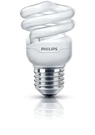 Philips Tornado Bombilla espiral de bajo consumo - Lámpara (E27, A, Blanco cálido, Color blanco, 30 - 300, 220 - 240)