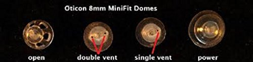 Oticon MiniFit Double Vent Bass Domes: 10-pack (Medium 8mm) by Oticon