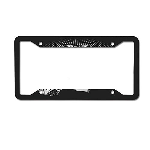 Puyrtdfs Halloween Background with Wolf Metal License Plates Decor Decoration for Car, Car Tag 4 Holes - 12