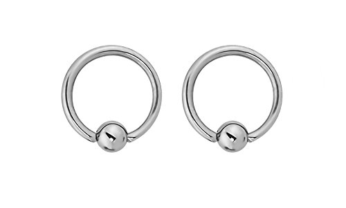 Forbidden Body Jewelry Pair of Every-Day Piercing Rings: 14g 8mm Surgical Steel Captive Bead Hoop Rings, 3mm Balls