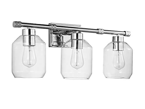 Stone & Beam Industrial Vanity Light with Clear Glass Shades, 10.99
