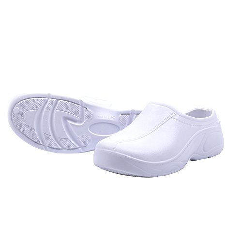 LIXFF Womens Nurse Shoes Slip Resistant Nursing Clogs Slip On Shoes White kHBSywPMO