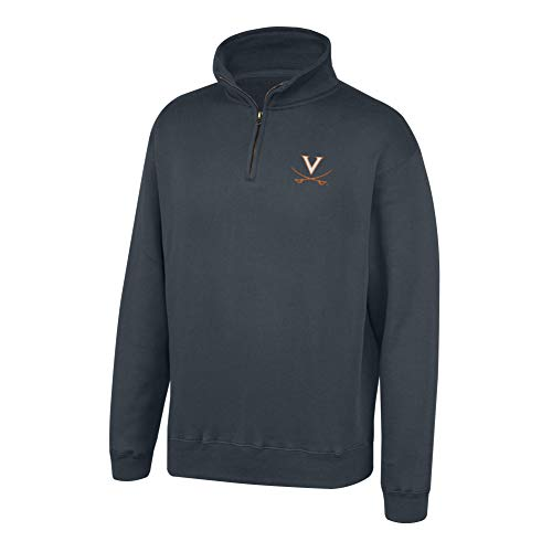 Top of the World NCAA Men's Virginia Cavaliers Dark Heather Classic Quarter Zip Pullover Charcoal Heather X Large