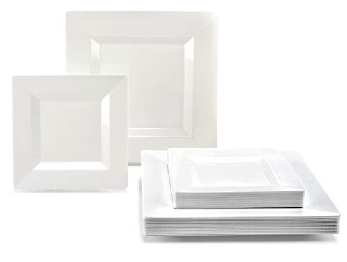 """"""" OCCASIONS"""" 240 Pack Wedding Party Square Disposable Plastic Plates Set - 120 x 9.5"""