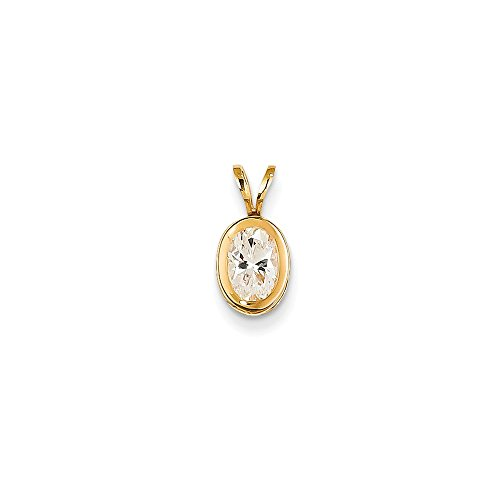 14k Yellow Gold 7x5mm Oval Cubic Zirconia Bezel Pendant Charm Necklace Gemstone Fine Jewelry Gifts For Women For Her