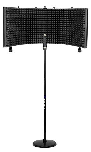 Rockville Recording Package w/Round-Base Microphone Stand+Foam Isolation Shield
