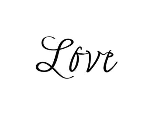 Love Temporary Tattoo, Set of 2 Romantic Script Semi-Permanent Tattoos - Quote Tattoo - Size - 1 .25
