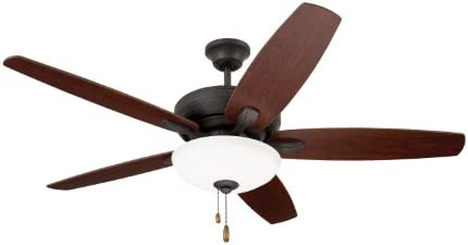 Hyperikon 52 Inch Ceiling Fan No Light, 60W, Remote Control and Pull Chain, Black Body, 5 Blades, Black