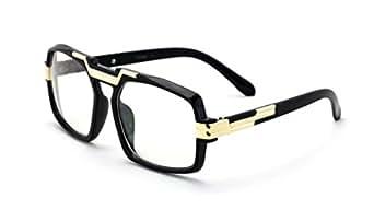 Amazon.com: Negro brillante oro Entertainer Hipster lente ...