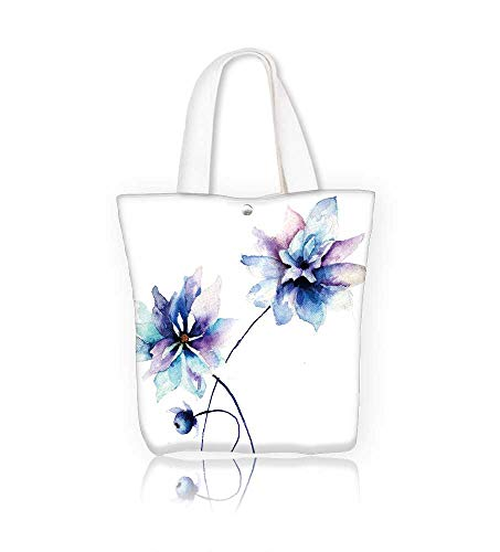 Women's Canvas Tote Handbags Beautiful Blue flowers Watercolor Casual Top Handle Bag Crossbody Shoulder Bag Purse W23xH14xD7 INCH