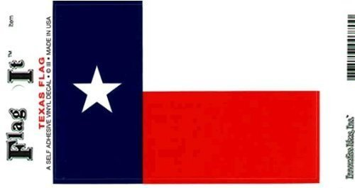 Texas Heavy Duty Vinyl Bumper Sticker (3 x 5 Inches) (Vinyl Waterproof Flag Decals)