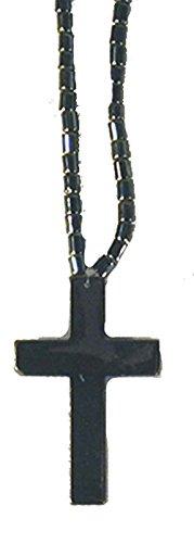 BUY 1 GET 1 FREE Black Hematite Natural Healing Stone Necklace with Cross Pendant - Hemitite Stone
