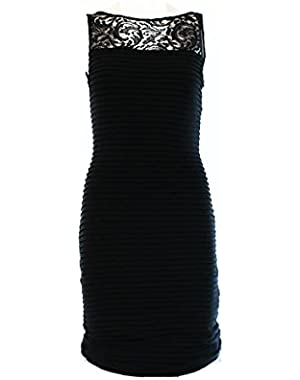 Calvin Klein Women's Illusion Lace V-Back Pintucked Jersey Dress