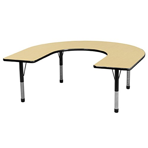 Cheap ECR4Kids Everyday T-Mold 60″ x 66″ Horseshoe Activity Table, Chunky Legs, Adjustable Height 15-24 inch (Maple/Black)