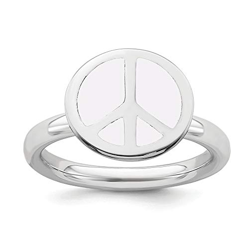 White Enameled Ring Band - 925 Sterling Silver White Enameled Peace Sign Band Ring Size 9.00 Stackable Fine Jewelry Gifts For Women For Her
