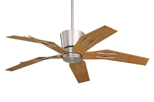Emerson CF3000BS Origami Indoor Outdoor Ceiling Fan, 52-Inch Blade Span, Brushed Steel Finish, All-Weather Aged Pine Blades and Opal Matte Glass