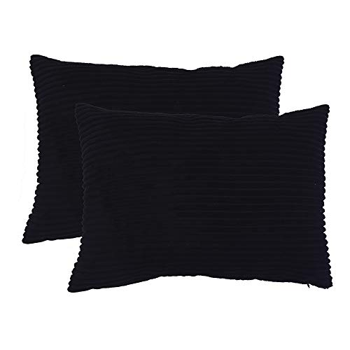 famibay Set of 2, Super Soft Throw Pillow Cover Solid Waist Oblong Pillow Covers 12
