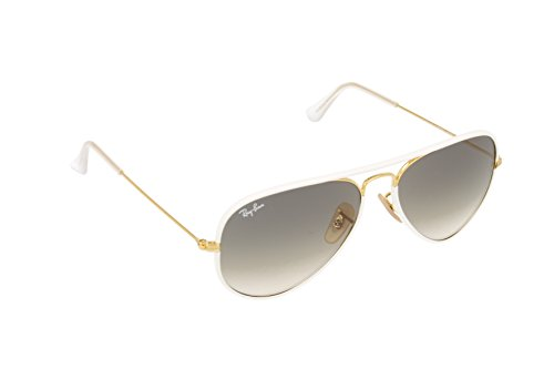 Ray Ban Men's RB3025JM 146/32 White/Gold Grey Gradient, Aviator 55mm - White Ray Aviator Bans