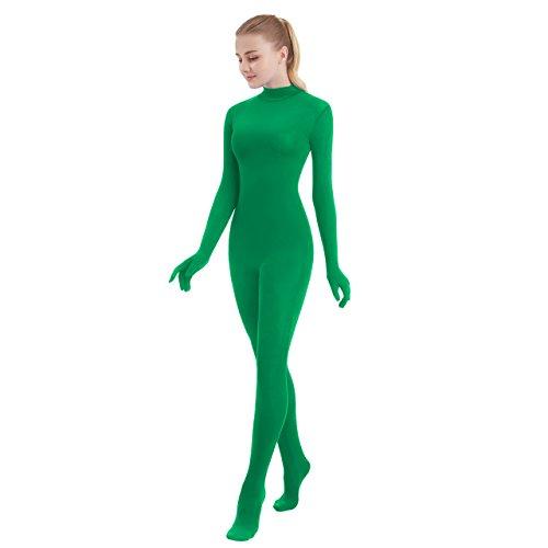 SUPRNOWA Unisex Turtleneck Full Body Spandex Long Sleeve Unitard Footed (X-Large, Green)