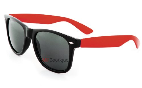 Retro Two Tone Dark Retro Classic Sunglasses Dark Lens Mens Womens Fashion (Red, - With Shades Lenses Shutter