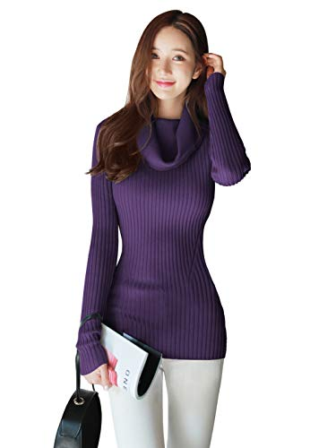 v28 Women Stretchable Cowl Neck Knit Long Sleeve Slim Fit Bodycon Sweater-2X,Pur