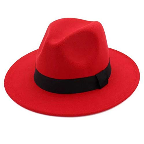 Lanzom Women Wide Brim Warm Wool Fedora Hat Retro Style Belt Panama Hat (Red, One Size)]()